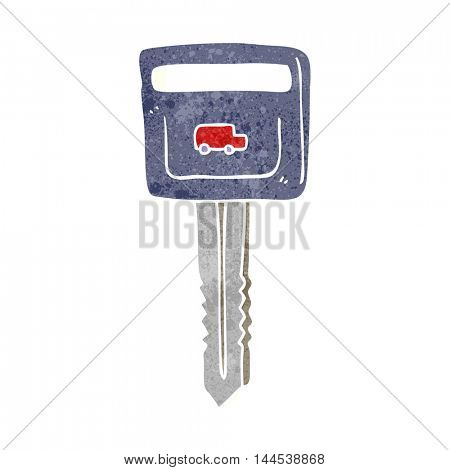 freehand retro cartoon car key