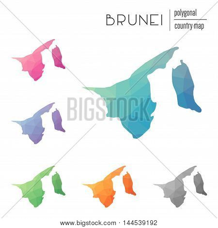 Set Of Vector Polygonal Brunei Darussalam Maps. Bright Gradient Map Of Country In Low Poly Style. Mu