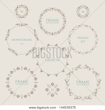 Set of round frames and monograms. Template labels stickers cards.