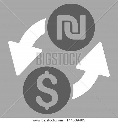 Dollar Shekel Exchange icon. Vector style is bicolor flat iconic symbol with rounded angles, dark gray and white colors, silver background.