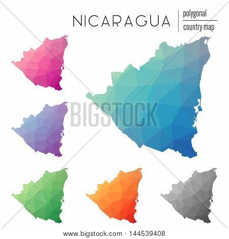 Set Of Vector Polygonal Nicaragua Maps. Bright Gradient Map Of Country In Low Poly Style. Multicolor