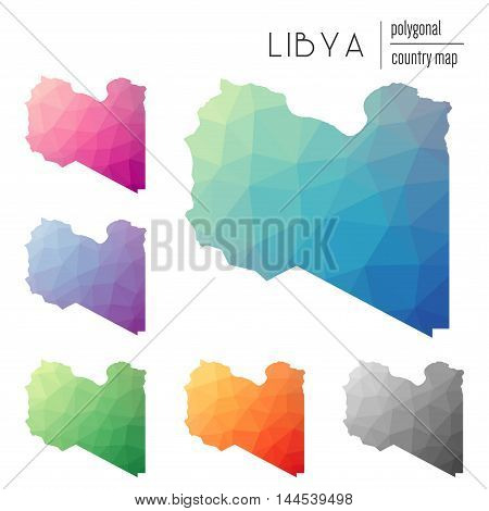 Set Of Vector Polygonal Libya Maps. Bright Gradient Map Of Country In Low Poly Style. Multicolored L