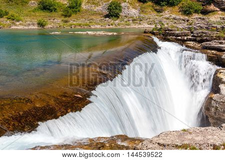 waterfall on the Cijevna river in Montenegro