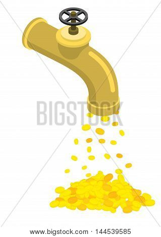 Pipe With Money. Cash Flow From Pipeline. Flow Of Gold Coins. Endless Profits