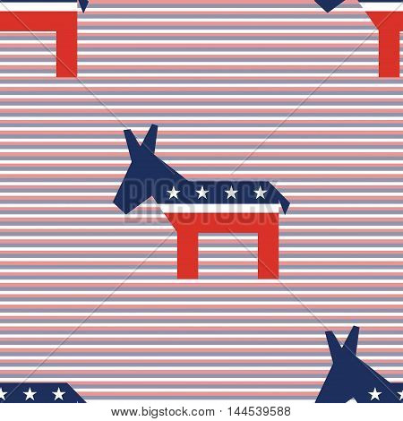 Broken Democrat Donkeys Seamless Pattern On Red And Blue Diagonal Stripes Background. Usa Presidenti