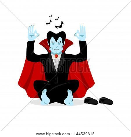 Vampire Yoga. Dracula Meditates On White Background. Status Of Nirvana And Enlightenment. Lotus Pose
