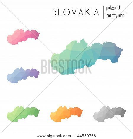Set Of Vector Polygonal Slovakia Maps. Bright Gradient Map Of Country In Low Poly Style. Multicolore