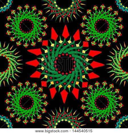 Abstract seamless pattern with circles shades of green with splashes of red on dark background. Vector pattern.