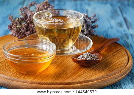 Mix of bio herbal tea on plate