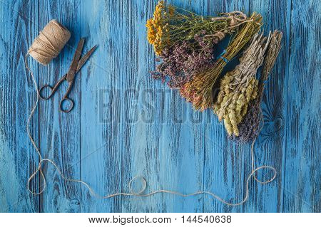 Dried lavender bunch. countryside scene on wooden table