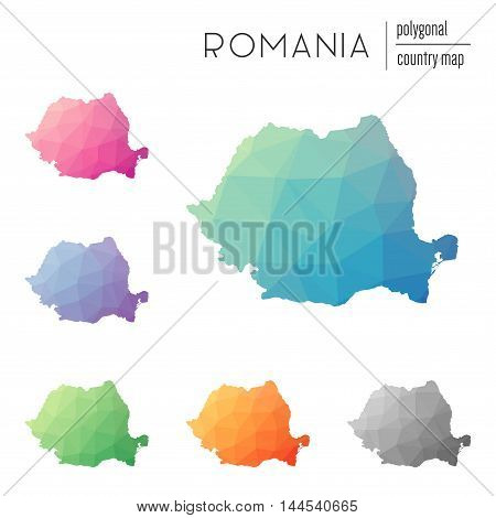 Set Of Vector Polygonal Romania Maps. Bright Gradient Map Of Country In Low Poly Style. Multicolored