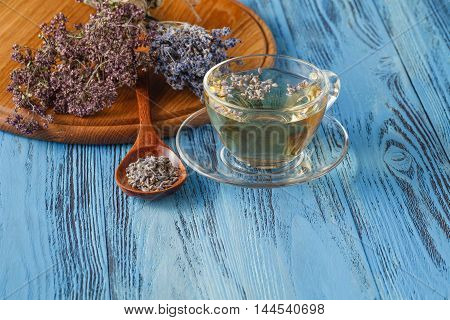 Herbal Tea.lavender Infusion In A Glass Cup