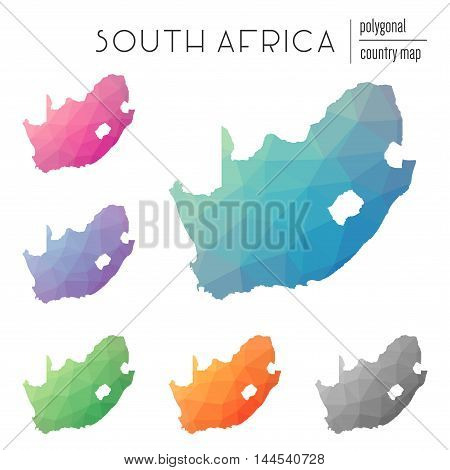 Set Of Vector Polygonal South Africa Maps. Bright Gradient Map Of Country In Low Poly Style. Multico