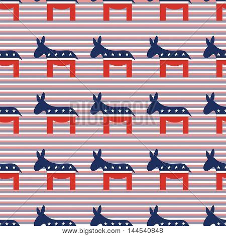Democrat Donkeys Seamless Pattern On Red And Blue Diagonal Stripes Background. Usa Presidential Elec