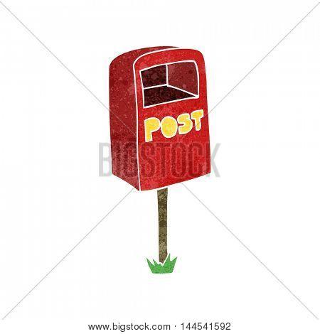 freehand retro cartoon post box