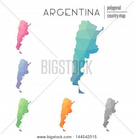 Set Of Vector Polygonal Argentina Maps. Bright Gradient Map Of Country In Low Poly Style. Multicolor
