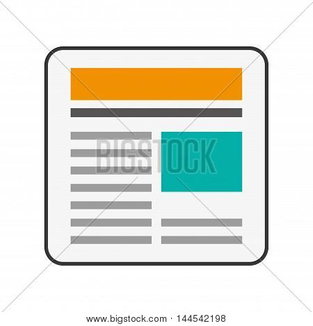 news communication paper information data icon. Flat and isolated design. Vector illustration