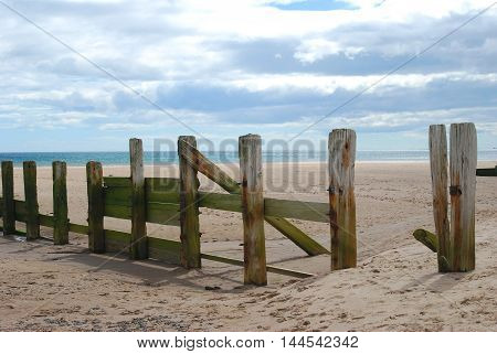 wooden weathered sea barrier beach at Spittal