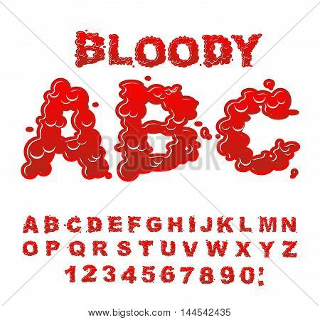 Bloody Abc. Red Liquid Letter. Fluid Lettring. Blood Font Of Scarlet Sign. Alphabet Gore