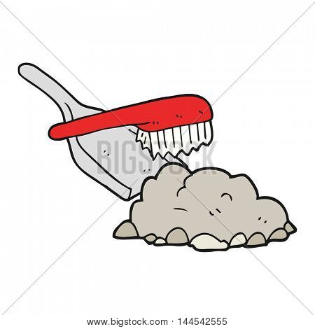 freehand drawn cartoon dust pan and brush sweeping up rubble