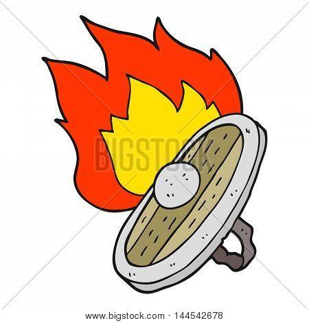 freehand drawn cartoon shield burning