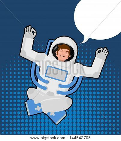Astronaut Meditates In A Pop Art Style. Bubble For Text. Zen And Relaxation Spaceman. Man In Space S