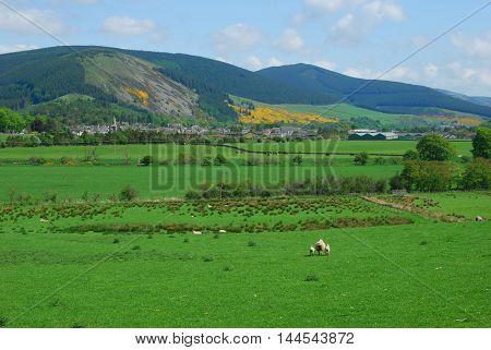 looking down to Innerleithen in Tweed valley