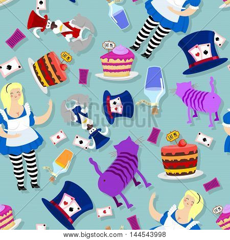 Alice In Wonderland Pattern. Fat Woman And Cheshire Cat. Rabbit In Hat. Cylinder Is Mad Hatter. Magi