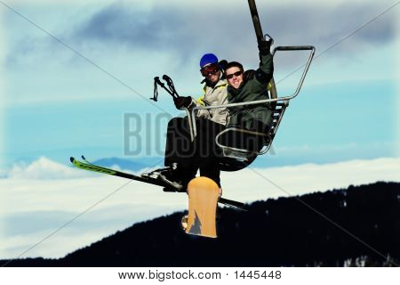 Ski People On Cable Car