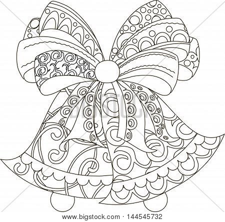 Stylized black and white hand drawn bells with bow, anti stress, vector illustration