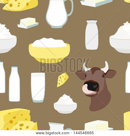 Pattern of Milk and farm products. Vector illustration, EPS 10