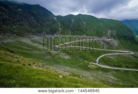 hairpin turns of Transfagarasan Road in southern section of Carpathian Mountains in Romania