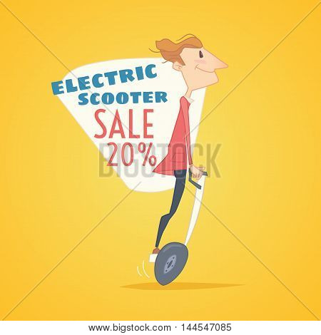 Sale banner for self-balancing electric scooter. Modern environmental transportation technologies.