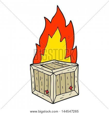 freehand drawn cartoon burning crate