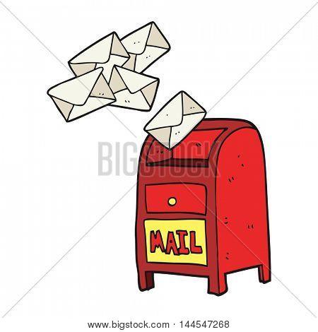 freehand drawn cartoon mail box