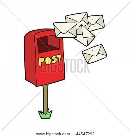 freehand drawn cartoon post box
