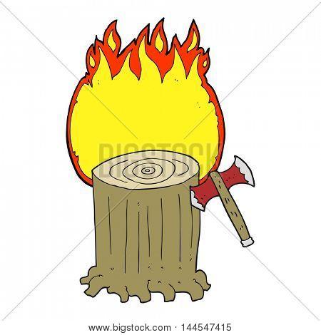 freehand drawn cartoon tree stump and axe