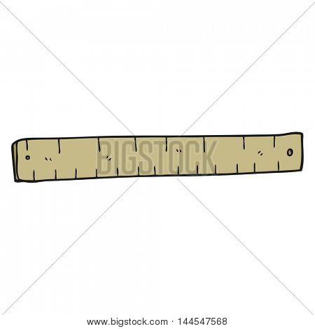 freehand drawn cartoon wooden ruler