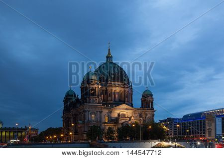 Berlin Cathedral (Berliner Dom) in evening illumination Germany