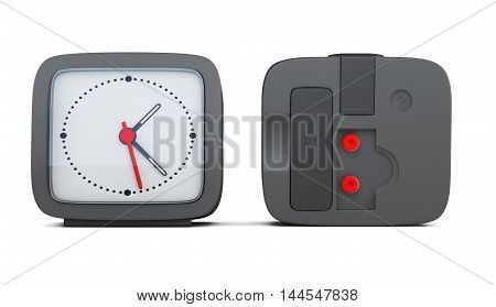 Black Alarm Clock With The Two Sides Isolated On White Background. 3D Rendering