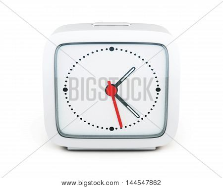 Square Alarm Clock Isolated On White Background. Front View. 3D Rendering