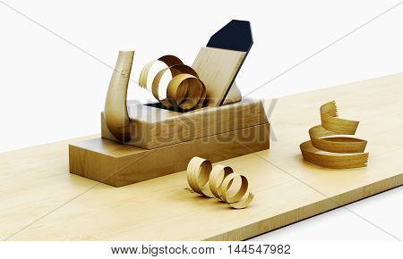 Wooden Plane Isolated On A White Background.  3D Render Image