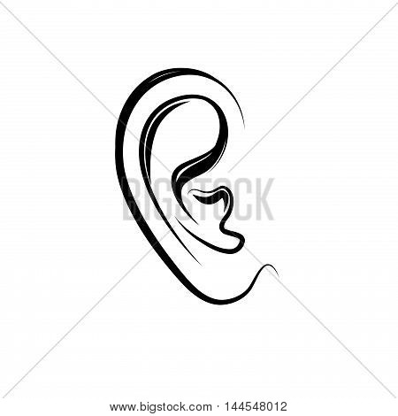 Ear engraving illustration. Human ear isolated over white background