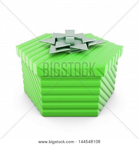Green Gift Box With Silver Bow. 3D Rendering.