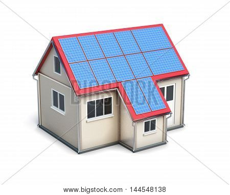 House With Solar Batteries On The Roof Isolated On White Background. 3D Render Image