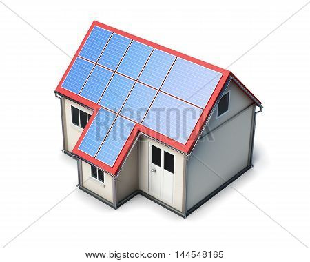 House With Solar Batteries On The Roof On White Background. 3D Render Image