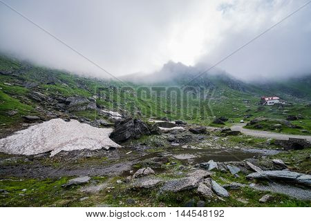 View near Balea Lake area next to Transfagarasan Road in southern section of Carpathian Mountains in Romania
