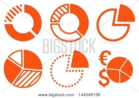 Pie Chart vector icons. Pictogram style is orange flat icons with rounded angles on a white background.
