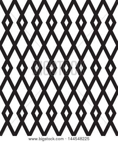 Geometric vector seamless pattern with black rhombuses on white background.