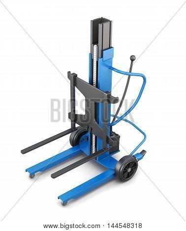 Blue Forklift. 3D Illustration.